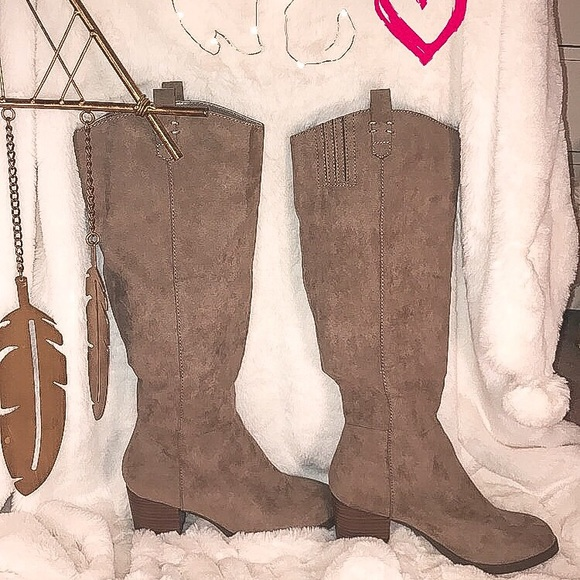 Shoes - Mid Calf Taupe Boots